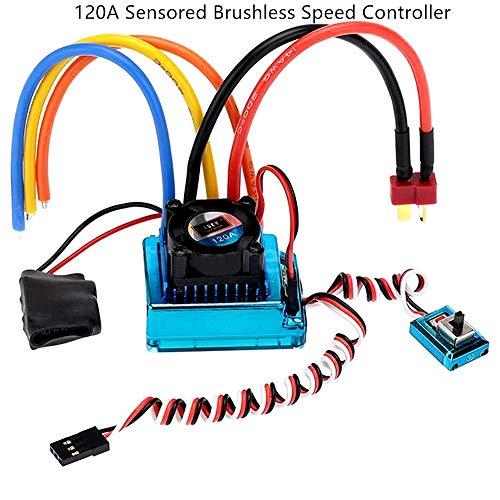 ZHITING Brushless ESC Elektrischer Geschwindigkeitsregler, 120A Sensored Brushless Speed Controller ESC für RC 1/8 1/10 1/12 Car Crawler