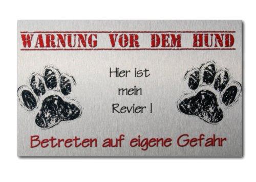 Kreative Feder Warnschild Hund aus gebürstetem Aluminium (Verbund)
