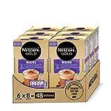 NESCAFÉ GOLD MOCHA, cremoso café soluble con leche desnatada, Cappuccino SABOR CHOCOLATE, Pack de 6 estuches con 8 sobres, TOTAL 48 sobres