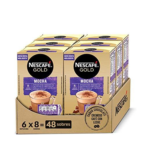 NESCAFÉ GOLD MOCHA, cremoso café soluble con leche desnatada, Cappuccino SABOR CHOCOLATE,...
