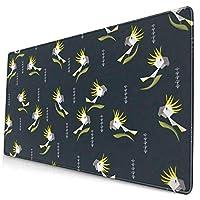 硫黄紋付きオウム デスクマット 超大型 マウスマット ゲーミングマウスパッド - 防水性 耐油性 キーボードマット PU デスクパッド PC机 マット 光学式マウス対応 ノートパソコン対応 耐洗い表面