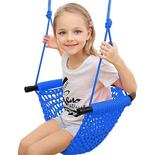 Swing para niños, asiento de swing para niños tejidos a mano pesados, muy adecuados para patios de juegos interiores y exteriores, equipados con ganchos de presión y correas oscilantes, juguetes para