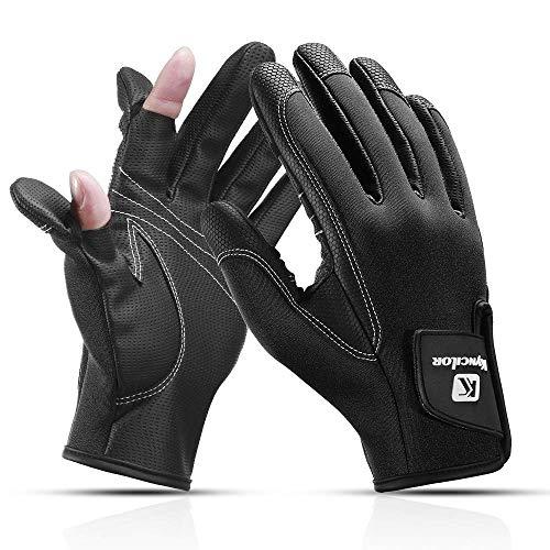 CHJM Anglerhandschuhe aus Neopren mit umklappbaren Fingerkuppen und Silikon-Innenseite, Fotografen Handschuh