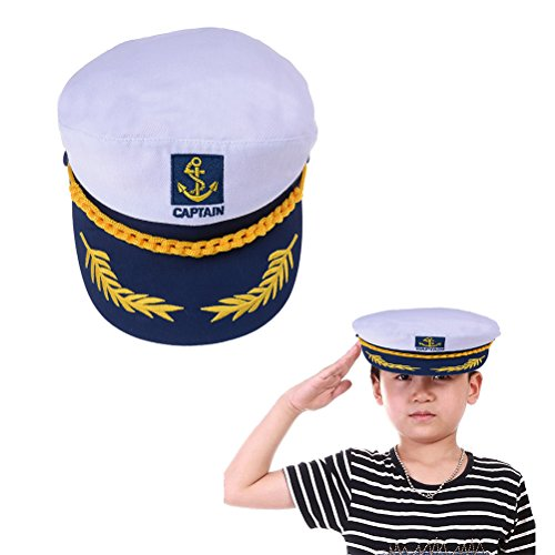 Welecom Sailor Captain Hat Embroidery Boat Ship Sailor Hats Adjustable Navy Hat Children