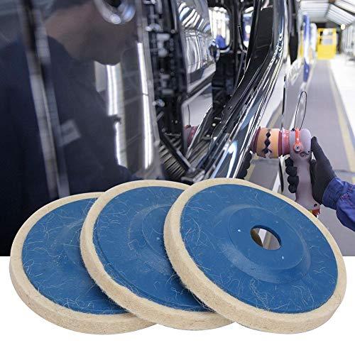 Disco de pulido de fieltro Disco de pulido de lana de 3 piezas, disco de lana de ángulo recto de madera de 4 pulgadas, metal piedra cerámica para vidrio