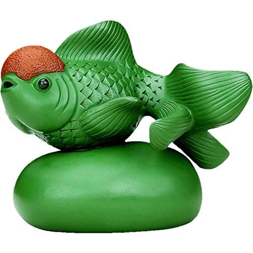 Goldfish ornamenten Thee huisdier decoratie Thee huisdier Thuis Boutique Paars Thee Huisdieren Handgemaakte Goldfish Thee Set Thee Lade Decoratie (Kleur : GREEN, Maat : 7.2 * 9CM)