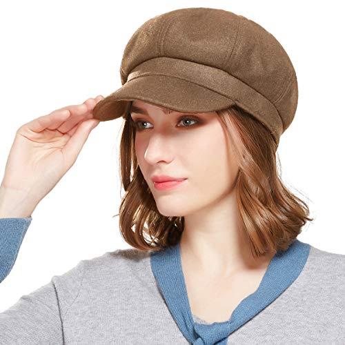 Welrog Ladies Newsboy Cabbie Beret Cap Bakerboy Schirmmütze Winter Hut for Women (Dunkler Kaffee)