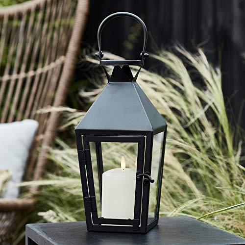 Lights4fun Petite Lanterne Noire avec Bougie Réaliste TruGlow® à LED Blanc Chaud pour Extérieur de 31,5cm