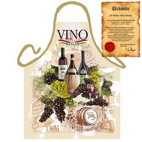 Grillschürze mit Urkunde - Italienischer Wein - Lustige Motiv Schürze als Geschenk für Grill Fans mit Humor - NEU mit gratis Zertifikat