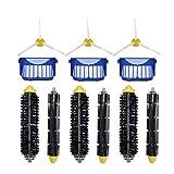 LIUWEI Filtros de Cepillo Lateral del Cepillo del Rodillo 12 unids/Set FIT para IROBOT Roomba 600 Series Vacuum Cleader 610/611/627/620/630/650 Piezas de Repuesto