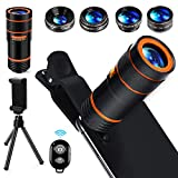 distianert Universal Handy Kamera Lens Kit, 12x Zoom Teleobjektiv / 0,62x Weitwinkel / 25x Makro / 235 ° Fisheye Objektive / 2X Teleobjektiv + Bluetooth Fernverschluss + Stativ für iPhone Android