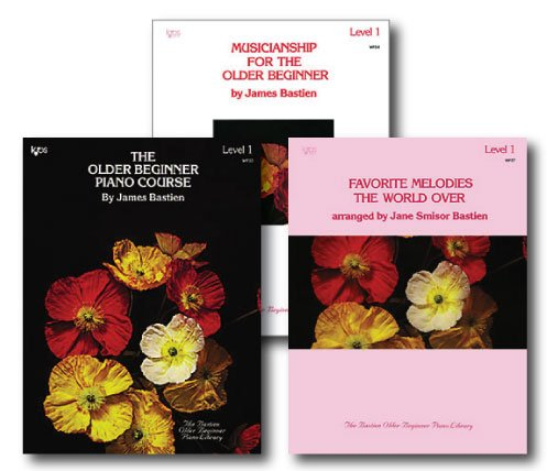 Bastien The Older Beginner Piano Level 1 Library Set - Three Book Pack - Includes The Older Beginner Piano Course, Musicianship for the Older Beginner and Favorite Melodies the World Over Books