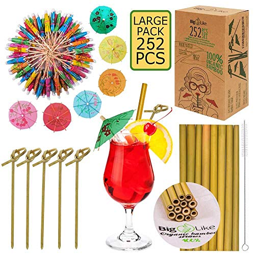144 Drink Umbrellas and 100 Bamboo Picks, 8 Bamboo Straws - 252 pcs Organic Set for Drinks and Appetizers. Cocktail Umbrellas Paper Parasol, Knotted Picks 6 inch, Reusable Straws 8 inch, 1 bag,1 brush