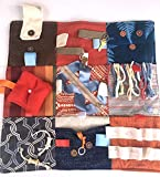 """Fidget Quilt Handmade in the U.S.A. for People with Memory Loss. Alzheimer's Blanket and Dementia Toy. Blue & Rust. Size 21"""" x 21"""""""