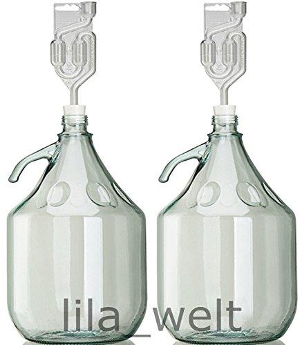 Unbekannt 2 x Set 5L Flasche + Stopfen + Gärröhrchen Weinballon Gärballon Glasflasche Gärbehälter