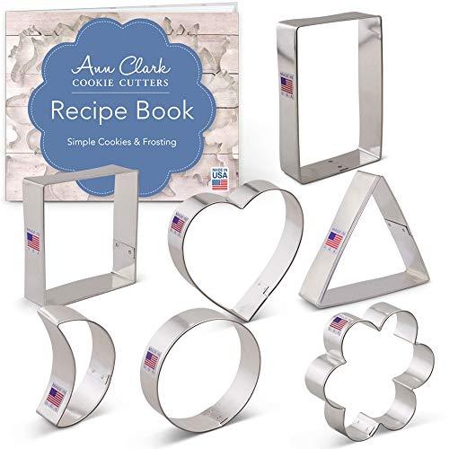 Ann Clark Cookie Cutters Ensemble de 7 emporte-pièces forme géométrique classique avec livret de recettes, cœur, cercle, carré, rectangle, triangle, croissant de lune et fleur