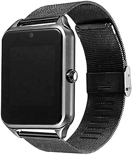 Reloj inteligente con correa de metal compatible con cámara SIM TF y podómetro Bluetooth, compatible con Android Smartwatch (color dorado) - negro