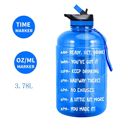 Sports Water Bottle Large Gallon Water Bottle with Straw And Time Mark 3.78L BPA-Free Portable Handle And Nylon Strap Motivational Water Bottle Suitable for Fitness, Weight Loss, Detoxification,Blue