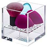 Pretty Display Acrylic Cube Makeup Sponge Holder: Sturdy, Crystal-Clear Beauty Blender Holder - Your Cosmetic Sponges Air Dry Naturally and Keeps Your Skin Healthier.