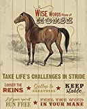 Wise Words from a Horse - Wall Decor Art Print with beige woodgrain background - 8x10 unframed print - Great for horse lovers