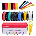 Hook up Wire Kit - Silicone Wire - 600V Tinned Stranded Electrical Wire of 6 Different Colors x 23 ft each - Black, Red, Yellow, Green, Blue, White - Wire Assortment Kit from Plusivo