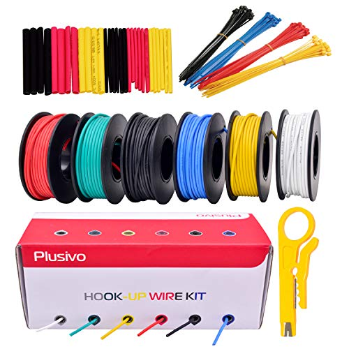 22AWG Silicone Hook Up Wire - 22 Gauge Stranded Tinned Copper Wire with Silicone Insulation, 6 Colors (Black, Red, Yellow, Green, Blue, White) 23ft / 7m Each, Hook Up Wire Kit from Plusivo