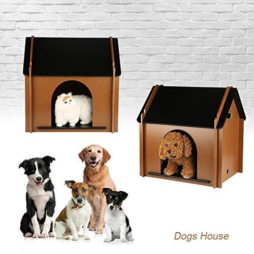 AYNEFY Caseta de Perro de Madera, Refugio de Madera Plegable para Mascotas Resistente al Invierno de Desmontable Decorativo para Perros de Interior
