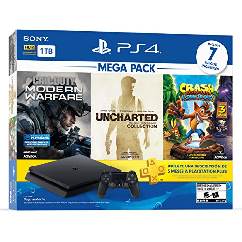 PlayStation 4 Mega Pack de 1TB con juegos Uncharted Collection, Call of Duty Modern Warfare, y Crash…