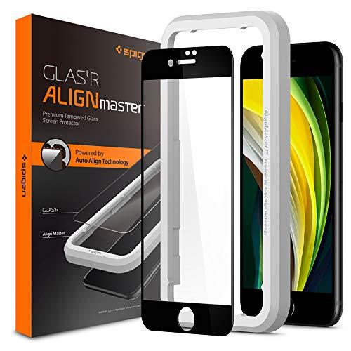 Spigen AlignMaster Cobertura Completa Protector Pantalla para iPhone SE 2020 y iPhone 8 y iPhone 7-1 Unidad