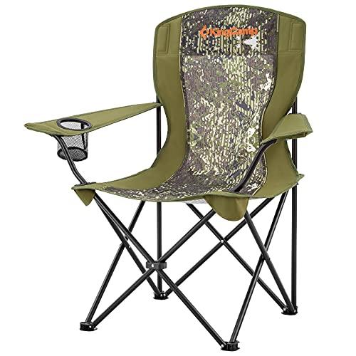 KingCamp Sillas de Camping para Adultos, sillas Plegables, sillas de Picnic al Aire Libre, Plegable, Ligera, Acolchada con reposabrazos y Soporte para Tazas, para Camping, Picnic