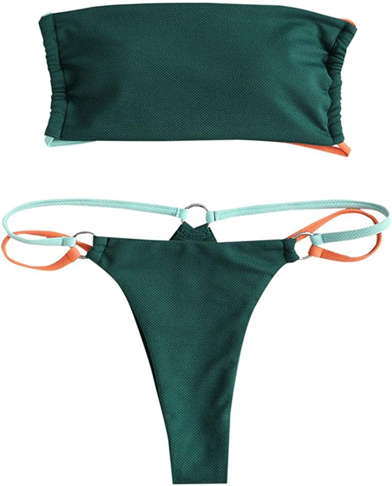 ZAFUL Women's Bikini Adjustable Back Lace-up Bandeau Bikini Set