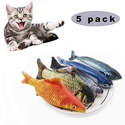 Sunshine smile 5 Stück Katzenspielzeug Fisch,Catnip Spielzeug,katzenminze Fisch,Katze Interaktive Spielzeug,20CM Simulation Fisch,Kissen Kauen Spielzeug für Katze (A)