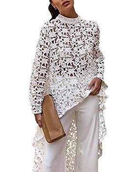 PRETTYGARDEN Women s Long Sleeve Round Neck High Low Asymmetrical Irregular Hem Casual Tops Blouse Shirt Dress White