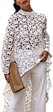 PRETTYGARDEN Women's Long Sleeve Round Neck High Low Asymmetrical Irregular Hem Casual Tops Blouse Shirt Dress White
