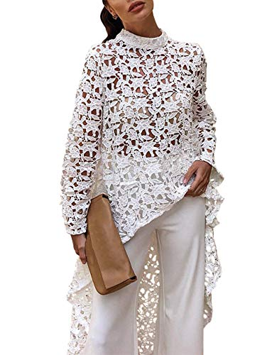 PRETTYGARDEN Women's Lantern Long Sleeve Round Neck High Low Asymmetrical Irregular Hem Casual Tops Blouse Shirt Dress (101088 White, Medium)