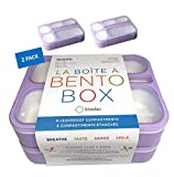 Bento-Box Set of 2 Lunch-Boxes for Kids for School | Leakproof Containers for Women Adults | BPA Free | Purple Lilac Lavender, Large