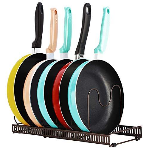 Soporte organizador de cacerolas, soporte para batería de cocina ajustable de 7 niveles, organizador de estantes de armario, soporte para tapa de cacerola de soluciones de almacenamiento de cocina
