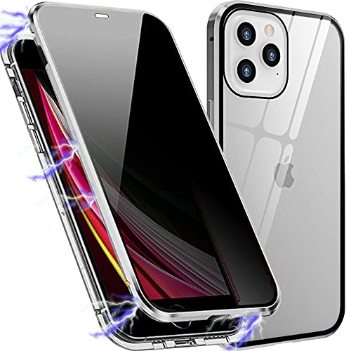 Magnetic Phone Case Designed for Apple iPhone 12/12 Pro, Anti Peep for Privacy, Double Sided Design of Tempered Glass with Metal Bumper Gives A Max & Full Protection for iPhone 12/12 Pro (Silver)