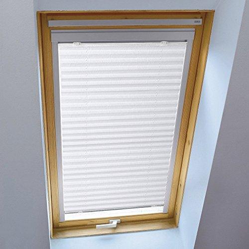 KINLO 90 x 130cm weiß Faltrollo Plissee Jalousie mit Saugnäpfe Velux Dachfensterrollo ohne Bohren Easyfix verspannt Faltstore für Dachfenster Sichtschutz und Sonnenschutz