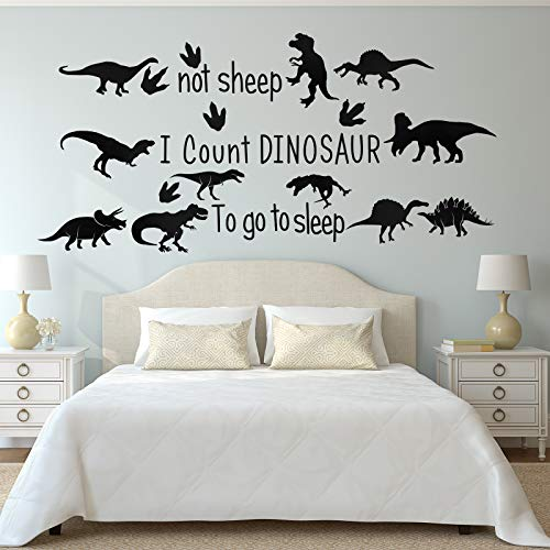 Outus 38 Pieces Dinosaur Wall Decals Dinosaur Wall Decor to Go to Sleep I Count Dinosaurs Not Sheep Dinosaur Decorations for Boys Room