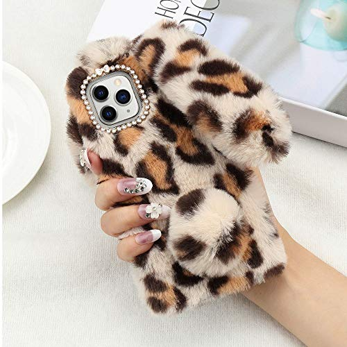 Lafunda for iPhone 11 Pro Max Soft Rabbit Leopard Print Case, Luxury Fluffy Cute Bunny Ears Soft TPU Case with Bling Diamond Silicone Winter Protective Back Bumper Chic Plush Case Cover-Light Brown