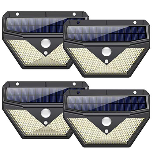 Solarlampen für Außen mit Bewegungsmelder, 【4 Stück】Trswyop 136 LED Solarleuchte Aussen 270 ° Weitwinkel Solar Aussenleuchte Wasserdichte Wandleuchte 3 Modi Solarlicht Garten [1400 Lumens - 2000mAh]