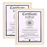 ATOBART 2 Pack 8.5 x 11 Certificate Picture Frames Set Oak Wood Diploma Document Award Photo Frame for Wall Hanging Home Decor,Large Holder for Photos,Certificate,Degrees