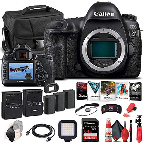 Canon EOS 5D Mark IV DSLR Camera (Body Only) (1483C002) + 64GB Memory Card + Case + Corel Photo Software + 2 x LPE6 Battery + External Charger + Card Reader + LED Light + HDMI Cable + More (Renewed)