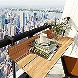 Sysyrqcer Balkongeländer Hanging Table Einstellbar Klappbalkon Decktisch, Outdoor-Seitentische, Wandmontage kreativ Einstellbarer Terrasse Gartentisch für Terrasse (Color : Brown, Size : 120 * 27)