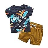 Fossen Ropa Niño Bebe 1-6 años Verano Conjuntos Dibujos Animados de cocodrilo Animal Camiseta Manga Corta y Pantalones Cortos de Cuadros (3 años, Azul)