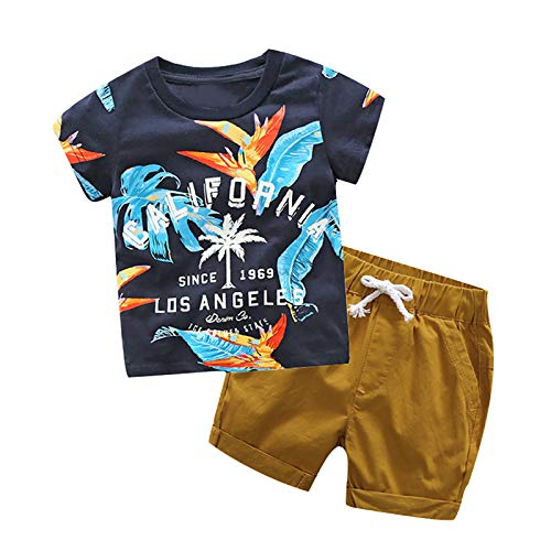 Fossen Ropa Niño Bebe 1-6 años Verano Conjuntos Dibujos Animados de cocodrilo Animal Camiseta Manga Corta y Pantalones Cortos de Cuadros (4 años, Azul)