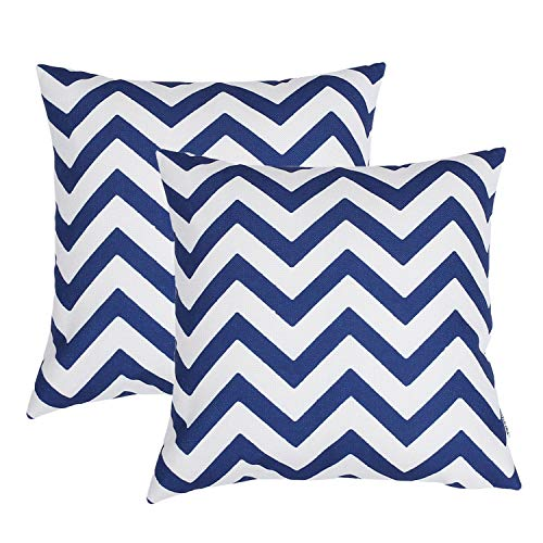 TIDWIACE Navy Blue Cushion Cover Cotton and linen Decorative Square Throw Pillow Cases for Sofa Bedroom 18 x 18 Inch 45 x 45 cm,Set of 2 Wave