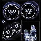 PRXD Lot de 2 Coussinets de Protection pour Voiture LED 7 Couleurs Changing USB Charging Mats Bottle Coasters Car Atmosphere (Audi)