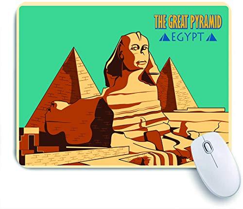 Dekoratives Gaming-Mauspad,Weinleseplakat der Sphinx und der Pyramiden im alten berühmten Denkmal Gizeh Cairo,Bürocomputer-Mausmatte mit rutschfester Gummibasis